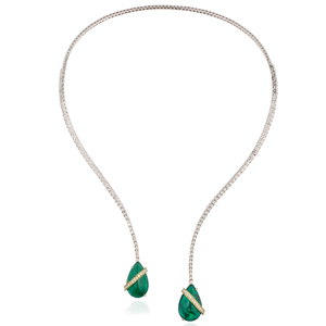 18k White Gold Necklace with Emerald Cabochon