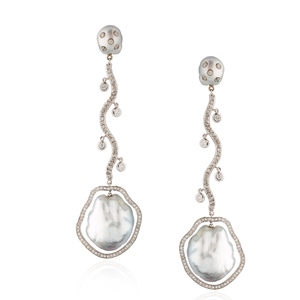 18K White Gold Earrings with South Sea Pearls