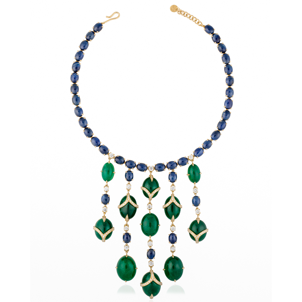 18K Yellow Gold Necklace with Emeralds