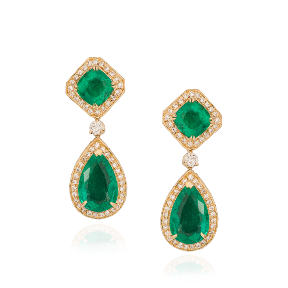 18K Yellow Gold Earrings with Emeralds & Diamonds