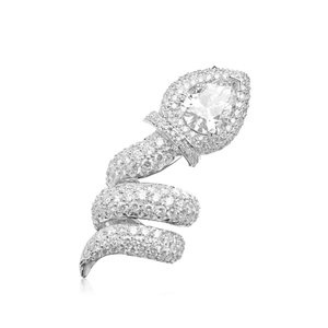 18k White Gold Snake Ring with White Diamonds