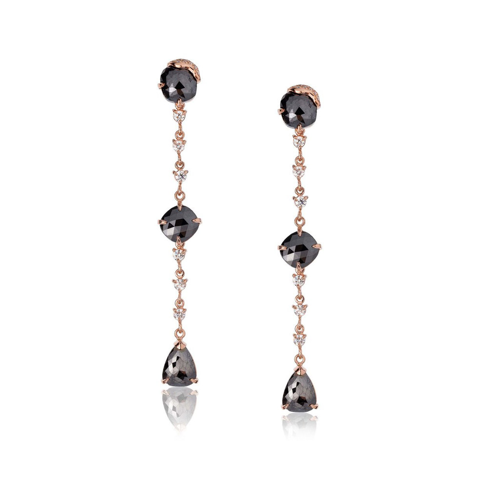 14k Rose Gold Earrings with Black & White Diamonds