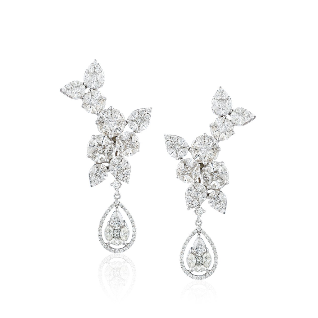 18k White Gold Earrings with White Diamonds