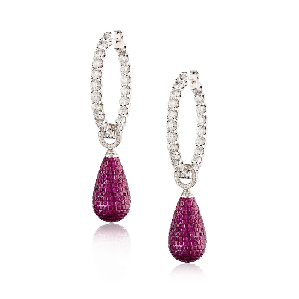 Load image into Gallery viewer, 18k White Gold Hoop Earrings with Diamonds and Ruby Drops