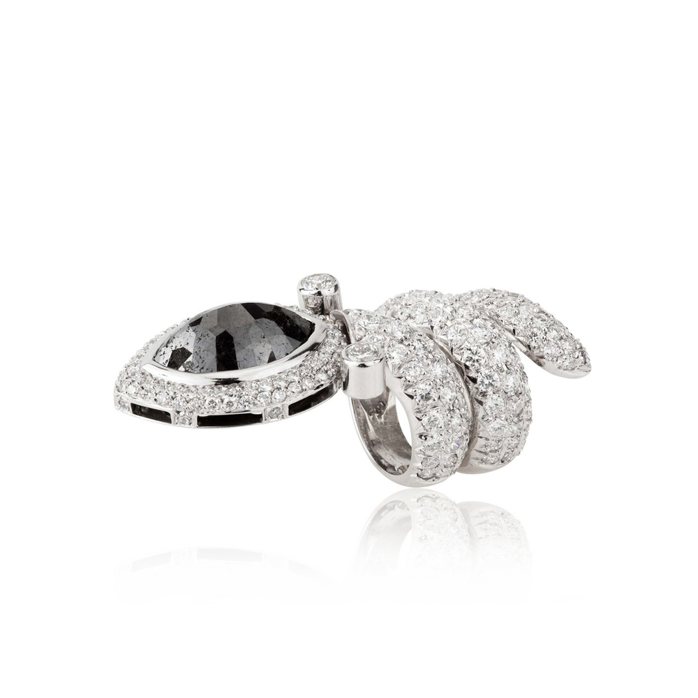 18k White Gold Snake Ring with Black and White Diamonds
