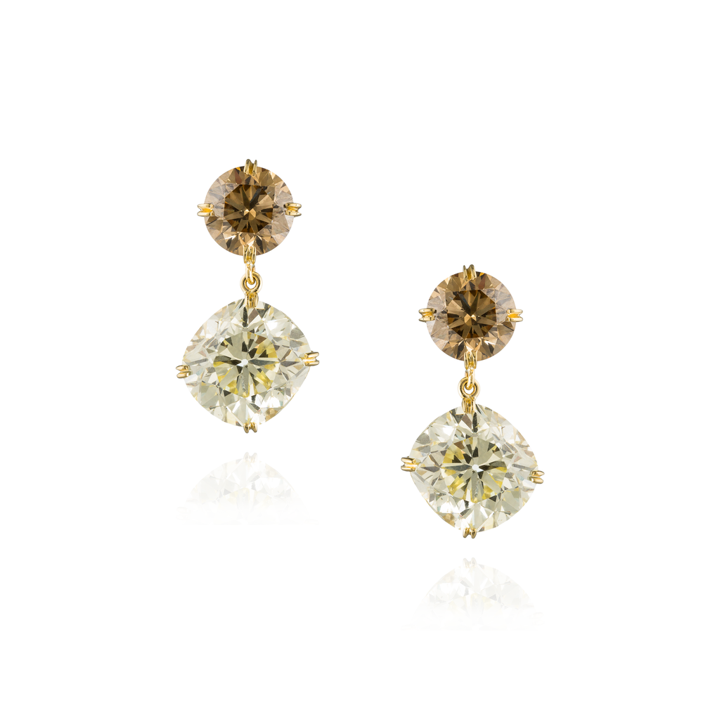 18K Yellow Gold Earrings with Fancy Yellow & Cognac Diamond