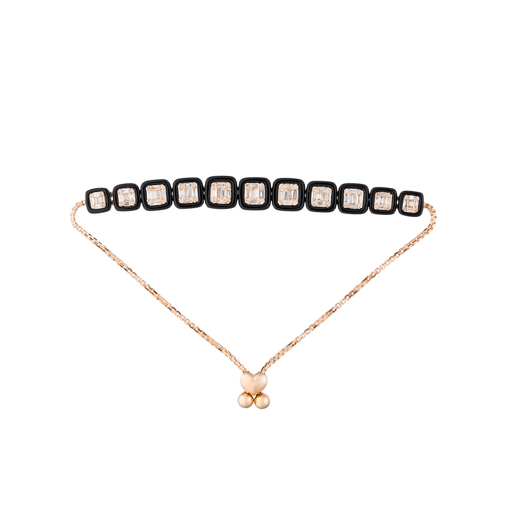 Load image into Gallery viewer, 18K Rose Gold Bracelet with Black Onyx