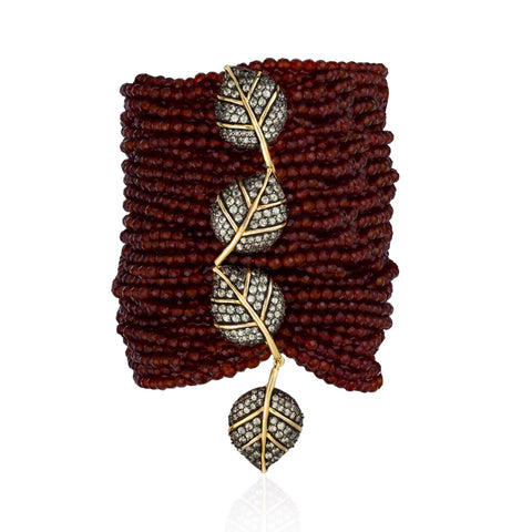 925 Silver Leaves Bracelet with Garnet and Sapphires