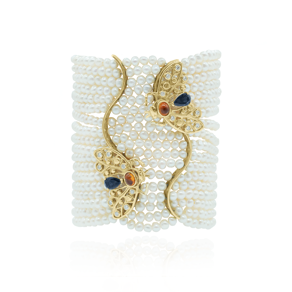 18K Yellow Gold Bee Bracelet with Freshwater Pearls