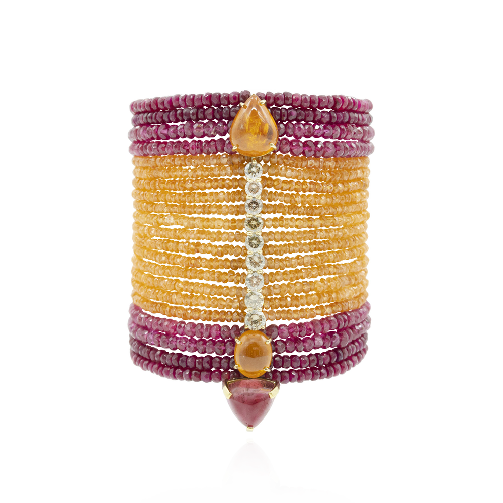 18k Yellow Gold Bracelet with Garnet, Tourmaline, Spinel and Diamonds