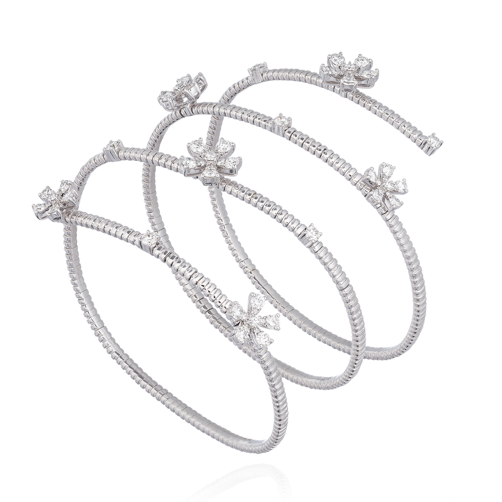 18K White Gold Spiral Bracelet with Diamond Flowers