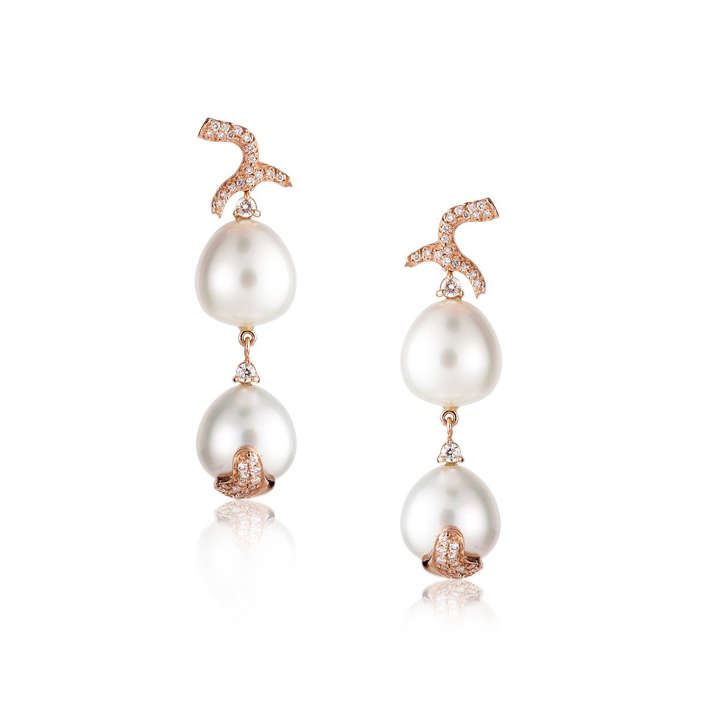 14k Rose Gold Earrings with South Sea Pearls