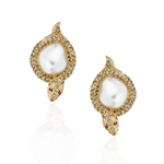 18k Yellow Gold Earrings with South Sea Pearl, Ruby and Diamonds