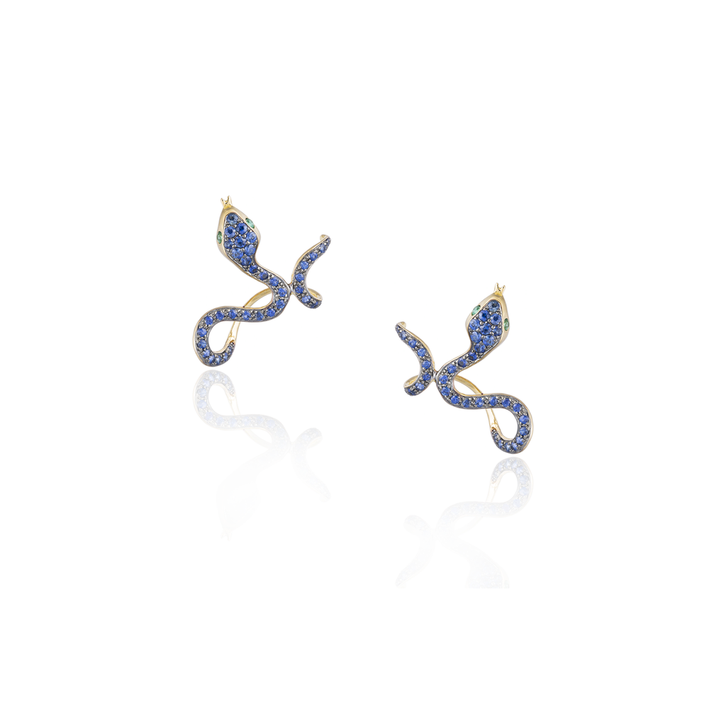 18K Rose Gold Snake Earrings with Blue Sapphires & Green Emerald Eyes