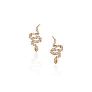 Load image into Gallery viewer, 18K Rose Gold Snake Earrings with White Diamonds