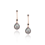 18k Rose Gold Earrings with South Sea Pearl and Diamonds