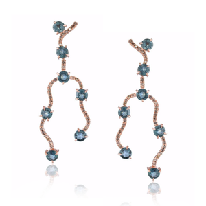 14k Rose Gold Earrings with Sapphires and Diamonds