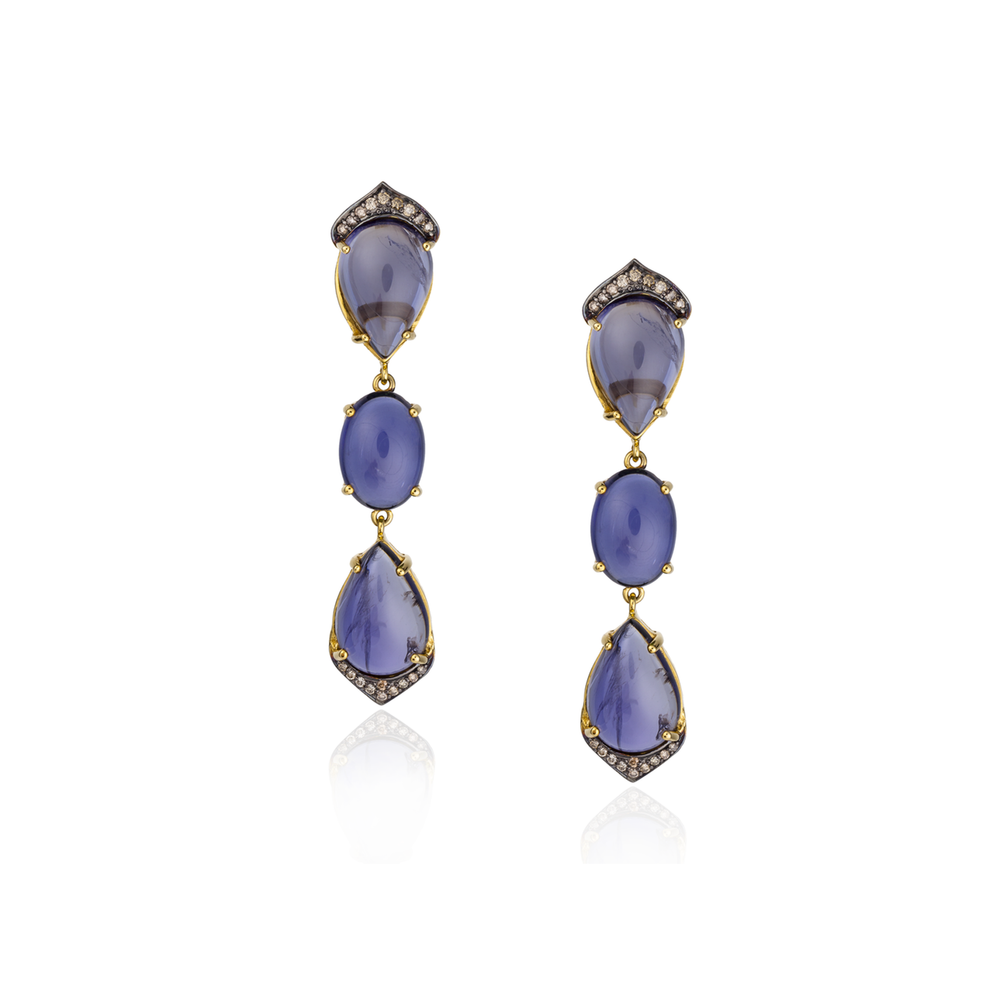 18K Yellow Gold Earrings with Iolite, Tsavorite, and Diamonds