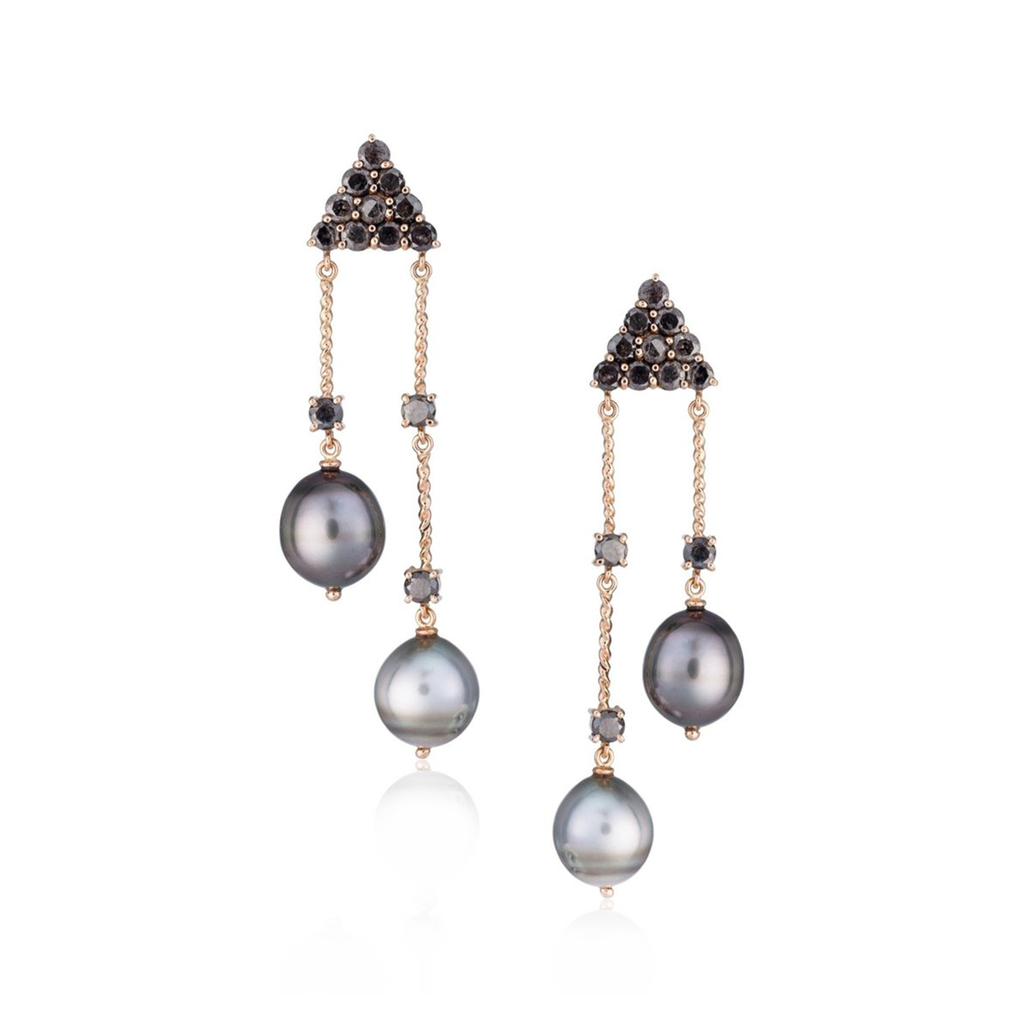 18k Rose Gold Earrings with South Sea Pearls and Diamonds