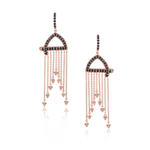 18k Rose Gold Earrings with Black Sapphires