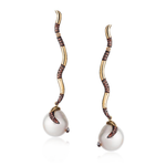 18k Yellow Gold Earrings with South Sea Pearl and Diamonds