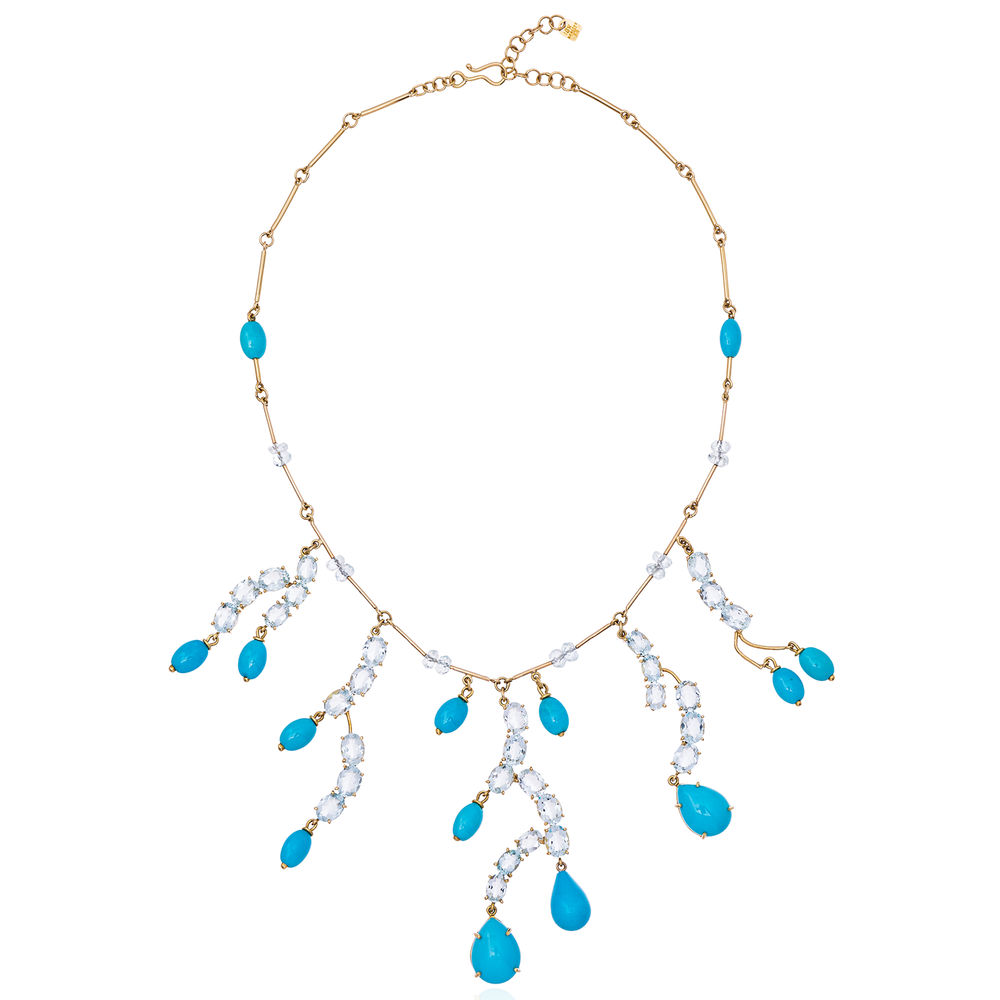 18K Yellow Gold Necklace with Aquamarine & Turquoise