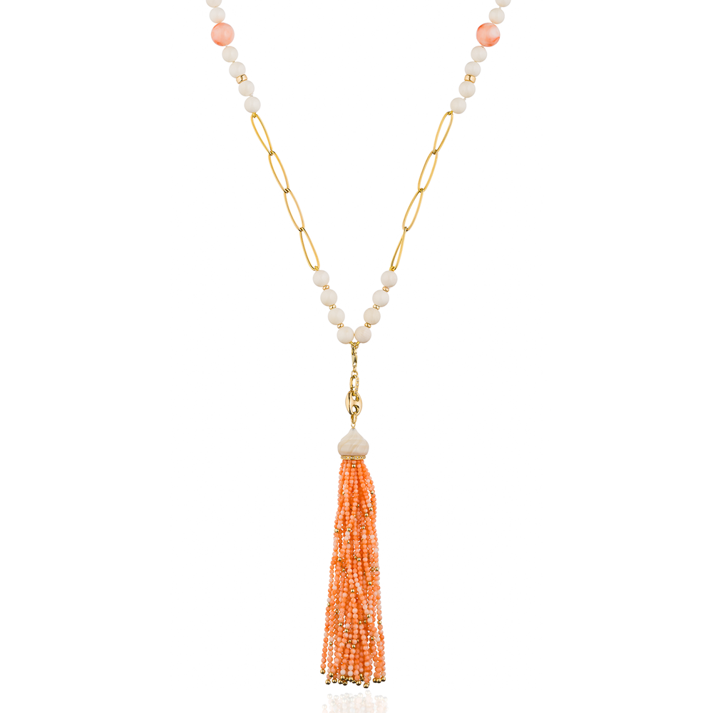 14K Gold Necklace with Coral Beads with a 18K Gold Tassel with Coral Beads