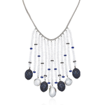14k White Gold Necklace with Sapphires, Pearls and Moonstones