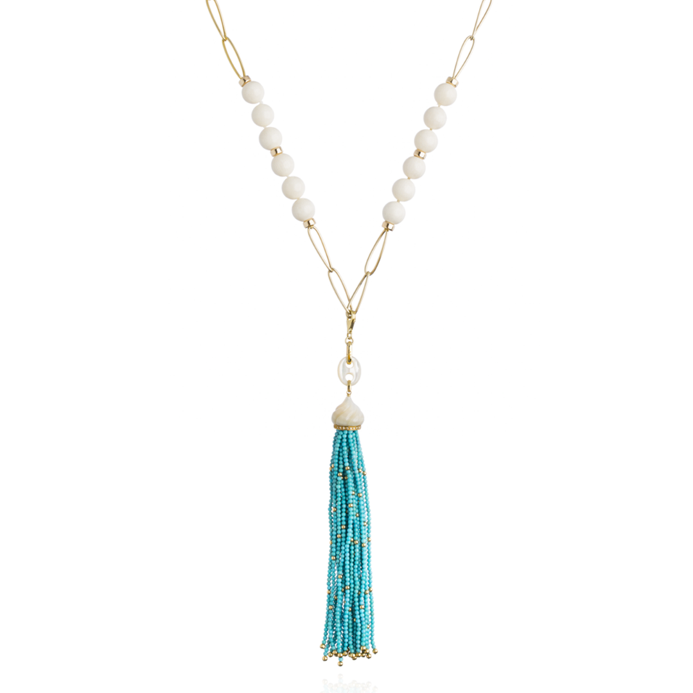 14K Gold Necklace with Coral Beads with a 18K Gold Tassel with Turquoise Beads