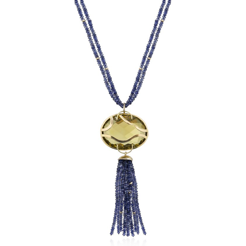 Load image into Gallery viewer, 18k Yellow Gold Necklace with Quartz and Iolite