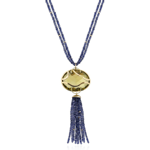 18k Yellow Gold Necklace with Quartz and Iolite