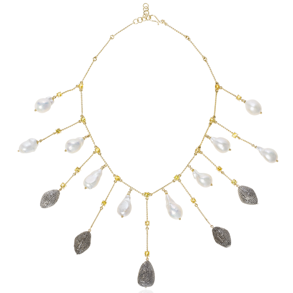 Load image into Gallery viewer, 18k Yellow Gold Necklace with Fresh Water Pearls, Sapphire and Diamonds