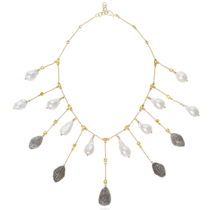 18k Yellow Gold Necklace with Fresh Water Pearls, Sapphire and Diamonds