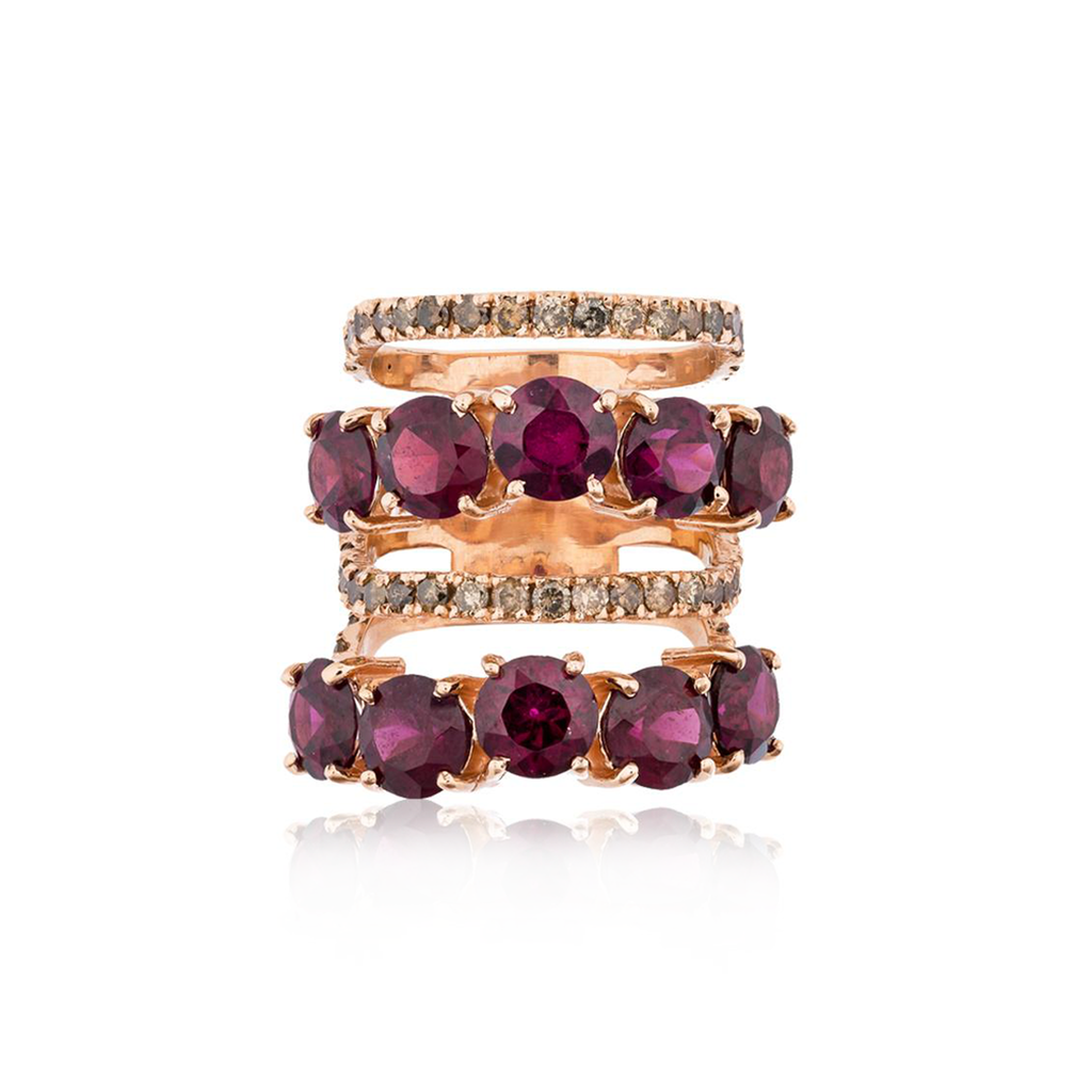 14k Rose Gold Ring with Garnets and Diamonds