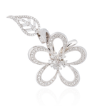 White Gold Flower Ring with Diamonds