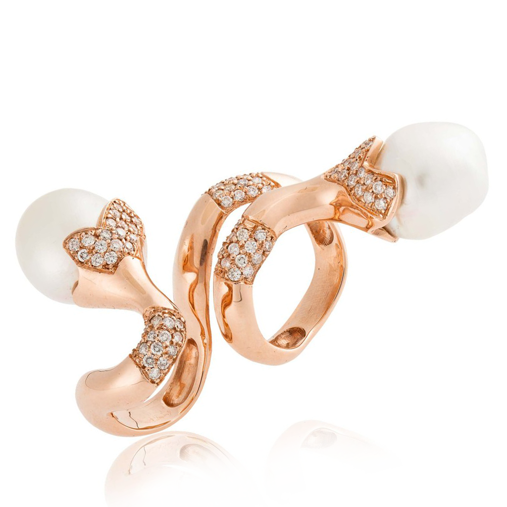 14k Rose Gold Ring with South Sea Pearls and Diamonds