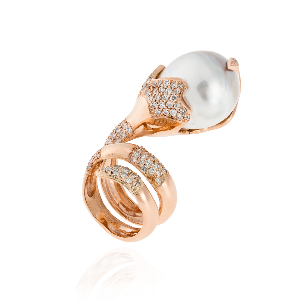 14k Rose Gold Ring with South Sea Pearl and Diamonds