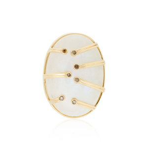 18k Yellow Gold Ring with Moonstone and  Diamonds