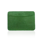 Credit Card Pouch in Green Stingray Leather