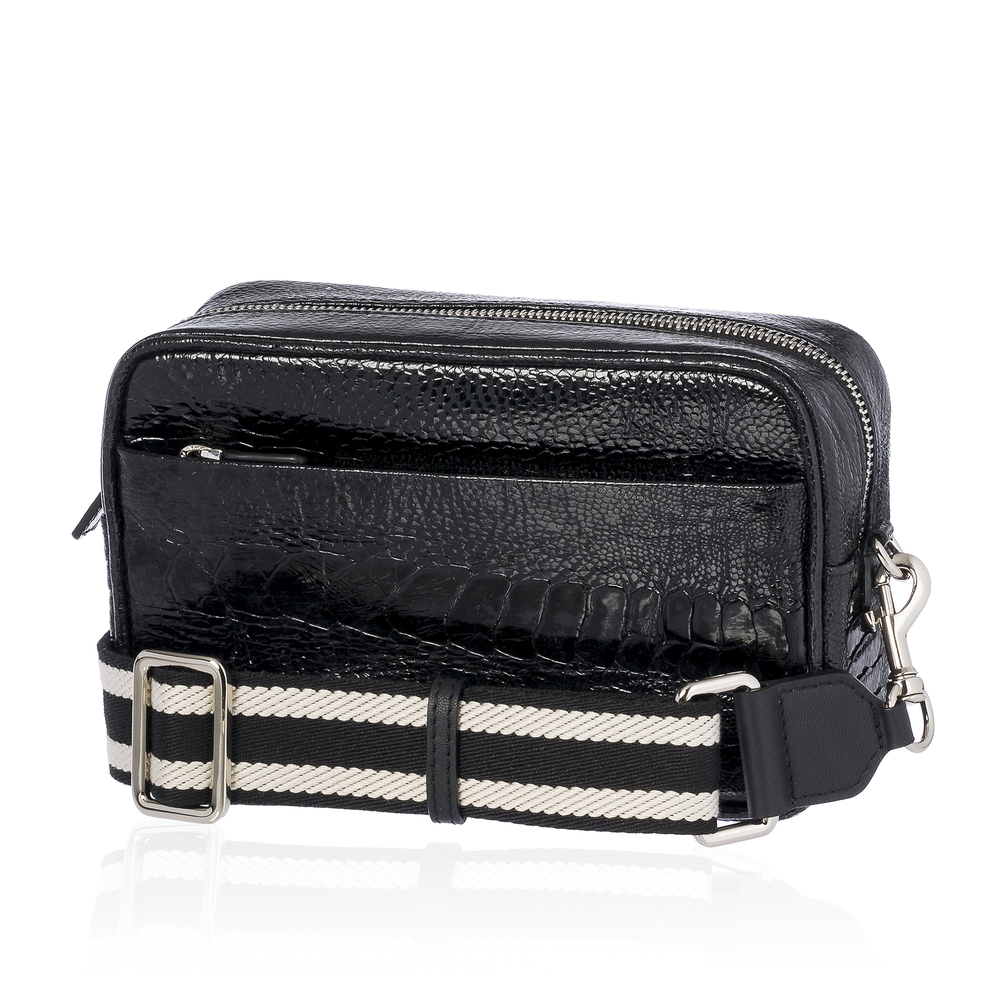 Load image into Gallery viewer, Black Ostrich Bag