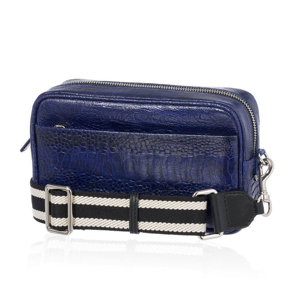 Load image into Gallery viewer, Blue Ostrich Bag