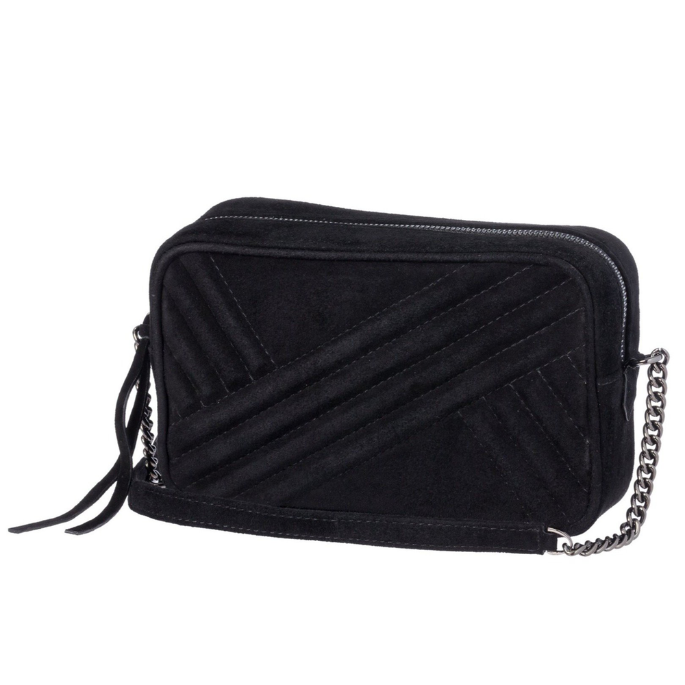 Handbag in Black Suede Leather