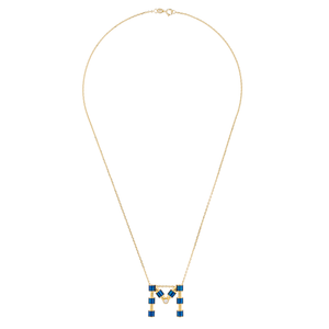 14K Gold Initial Necklace with Enamel