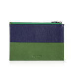 Zip Pouch in Blue & Green Leather