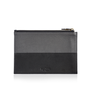 Zip Pouch in Grey and Black Leather