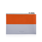 Zip Pouch in Orange & Grey Leather
