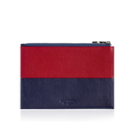 Zip Pouch in Red and Blue Leather
