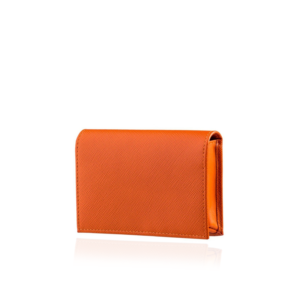 Small Wallet in Orange Textured Leather