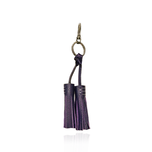 Load image into Gallery viewer, Keyring Tassel in Purple Textured Leather