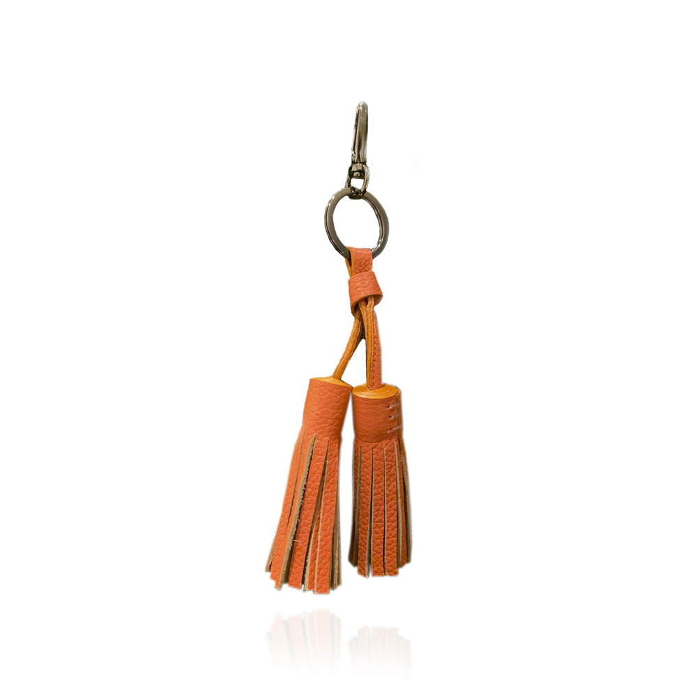 Keyring Tassel in Orange Textured Leather
